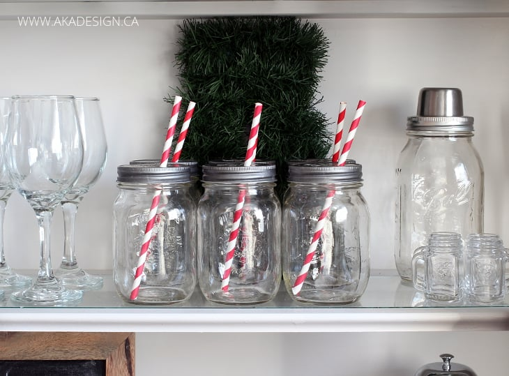MASON JARS STRIPED RED STRAWS