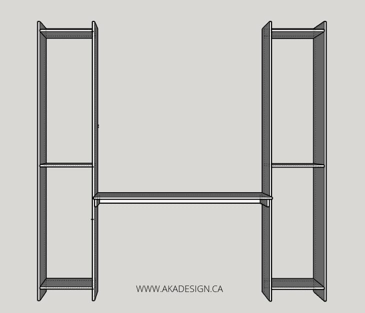 built in desk and shelves NO LONG SHELF OR BRACKET