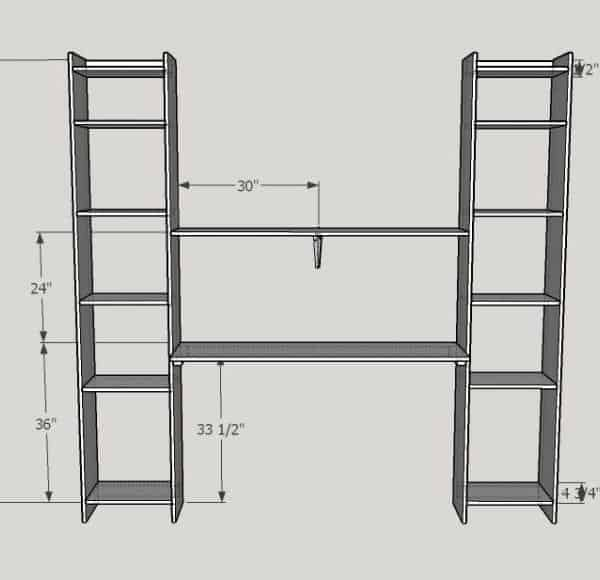 built in desk and shelves overall dimensions