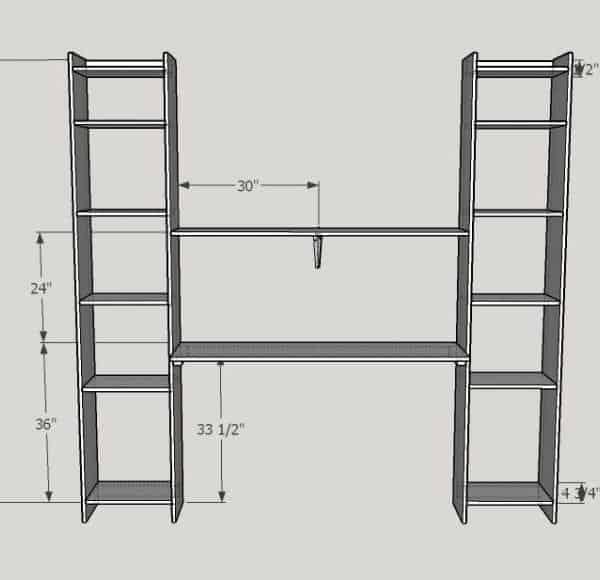 DIY Built In Desk and Shelves