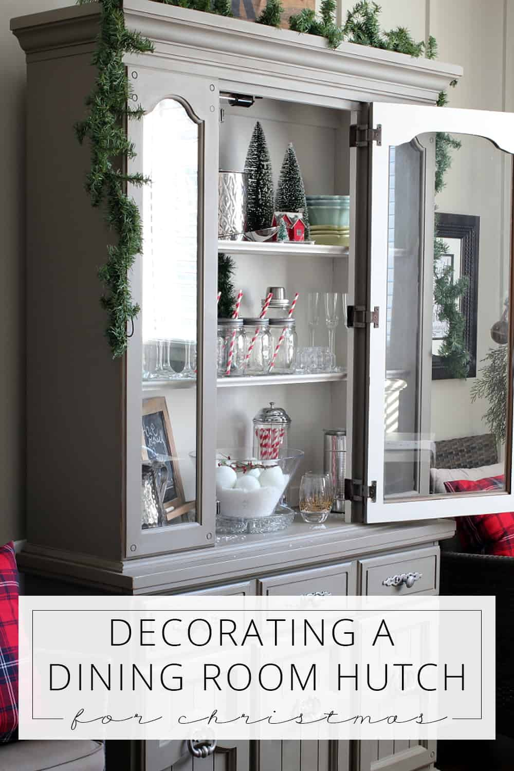 tips for decorating a dining room hutch for christmas