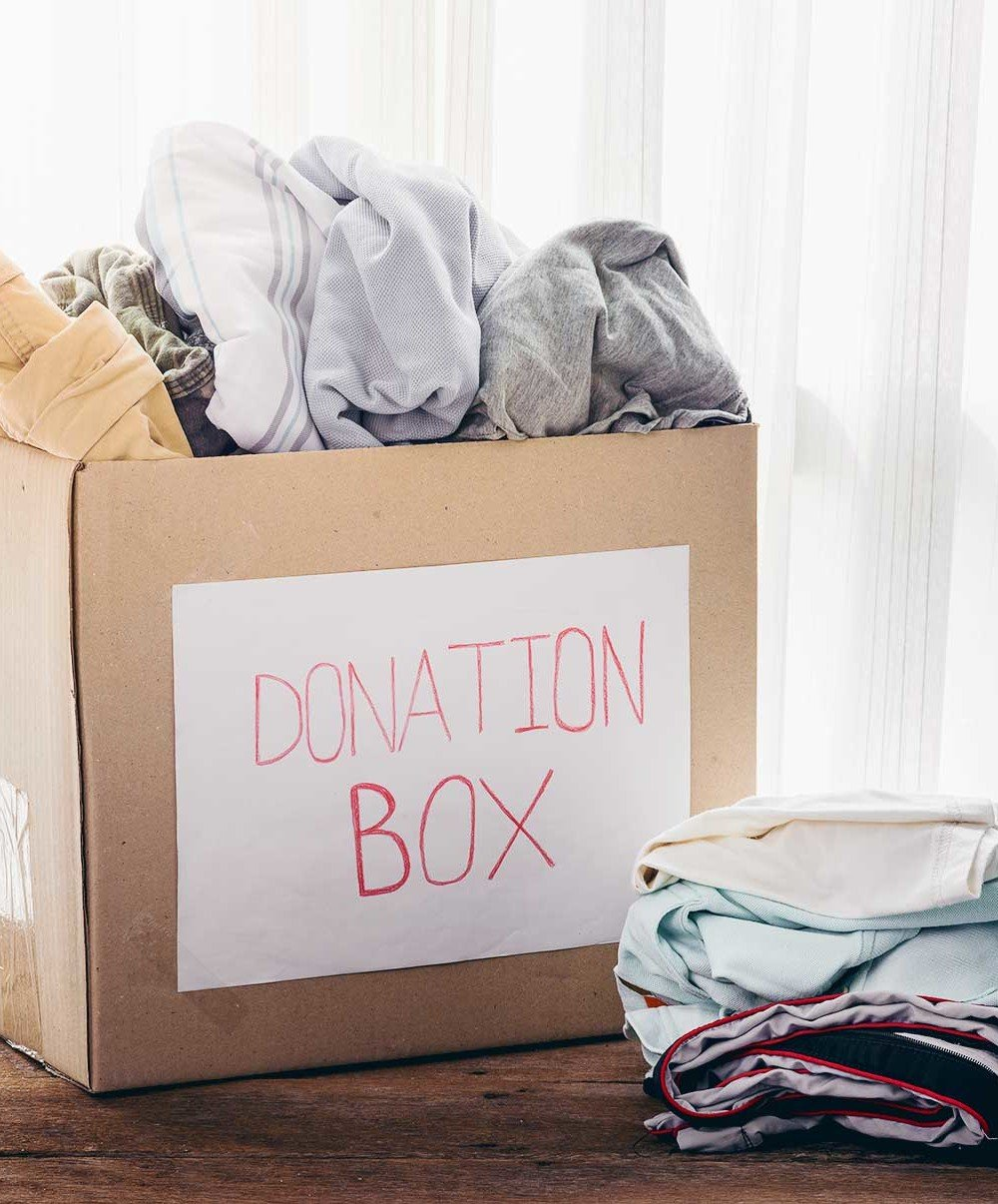 donation box, clothes