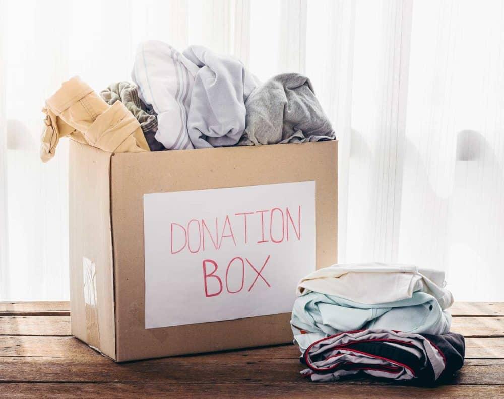 donation box, clothes