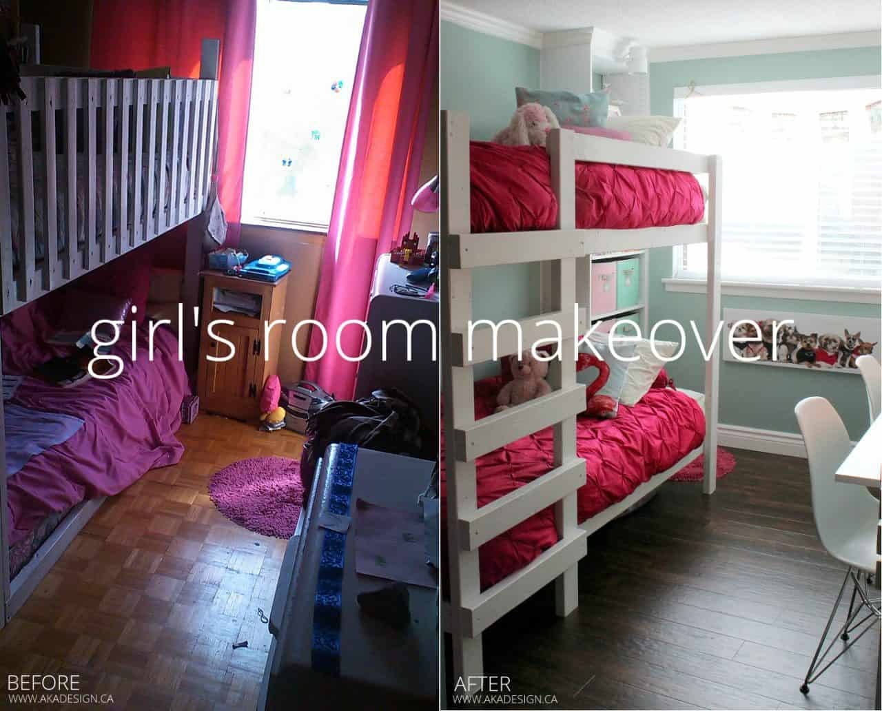 girl's room makeover before and after