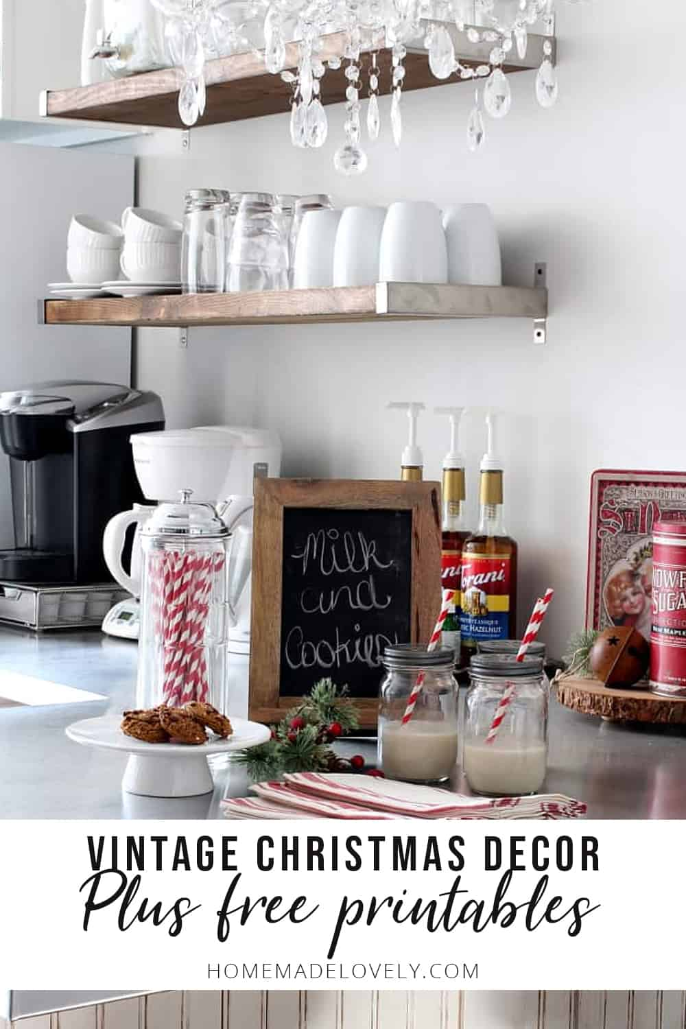vintage red and white christmas decor