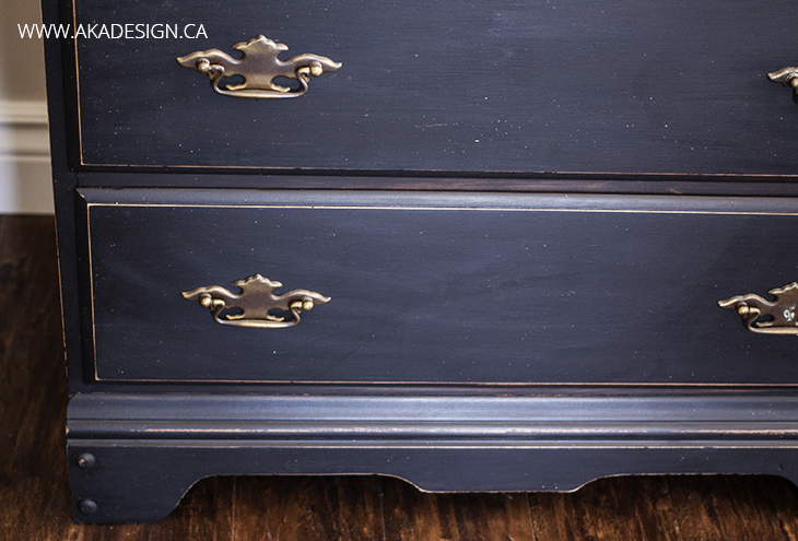 DISTRESSED BLACK SECRETARY DESK