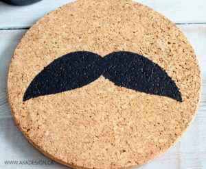 MUSTACHE PAINTED CORK TRIVET