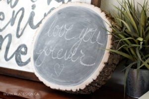 RUSTIC LOG SLICE CHALKBOARD