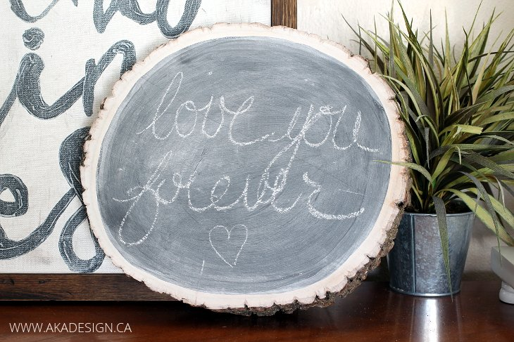 THICK LOG SLICE CHALKBOARD