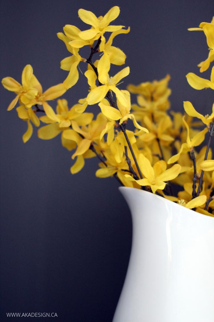 YELLOW FLOWERS GREY WALL