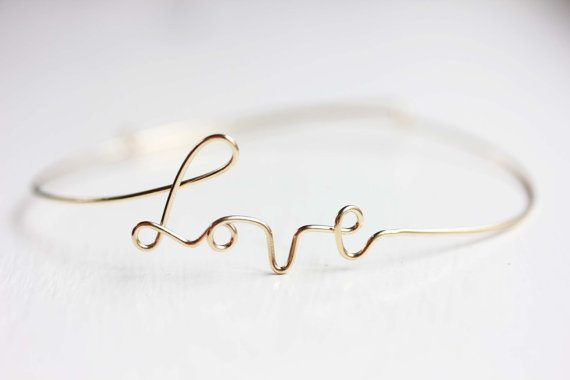 Gold Wire Love Bracelet