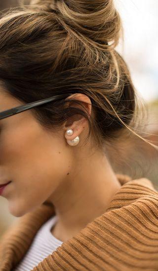 White Double Pearl Earrings