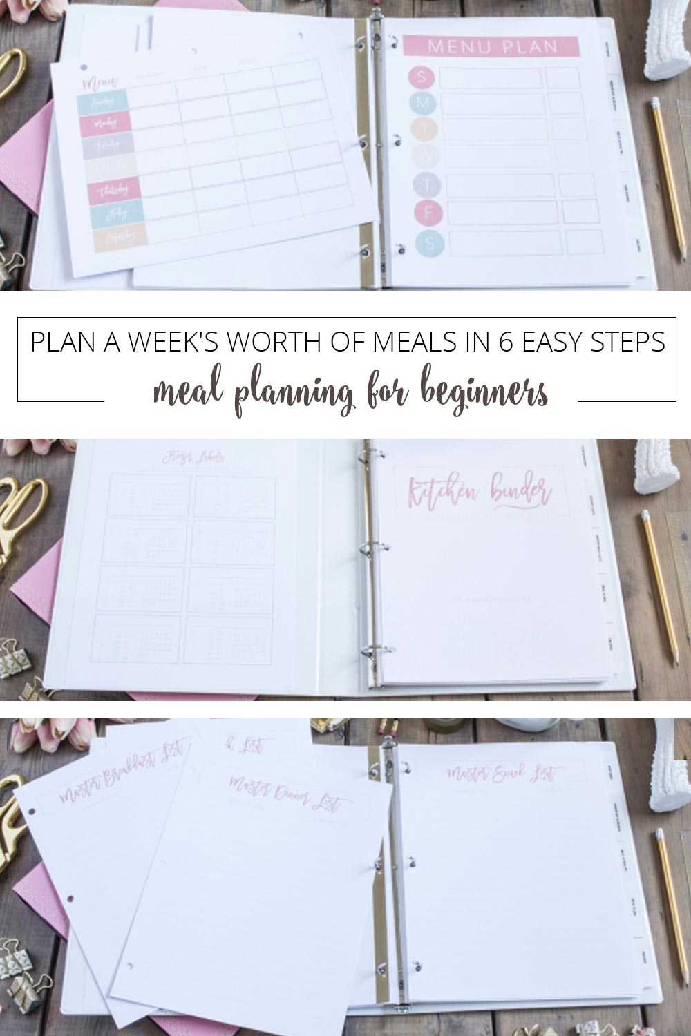 open pink binder with meal planning pages