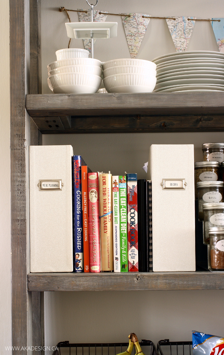 recipe books on open pantry