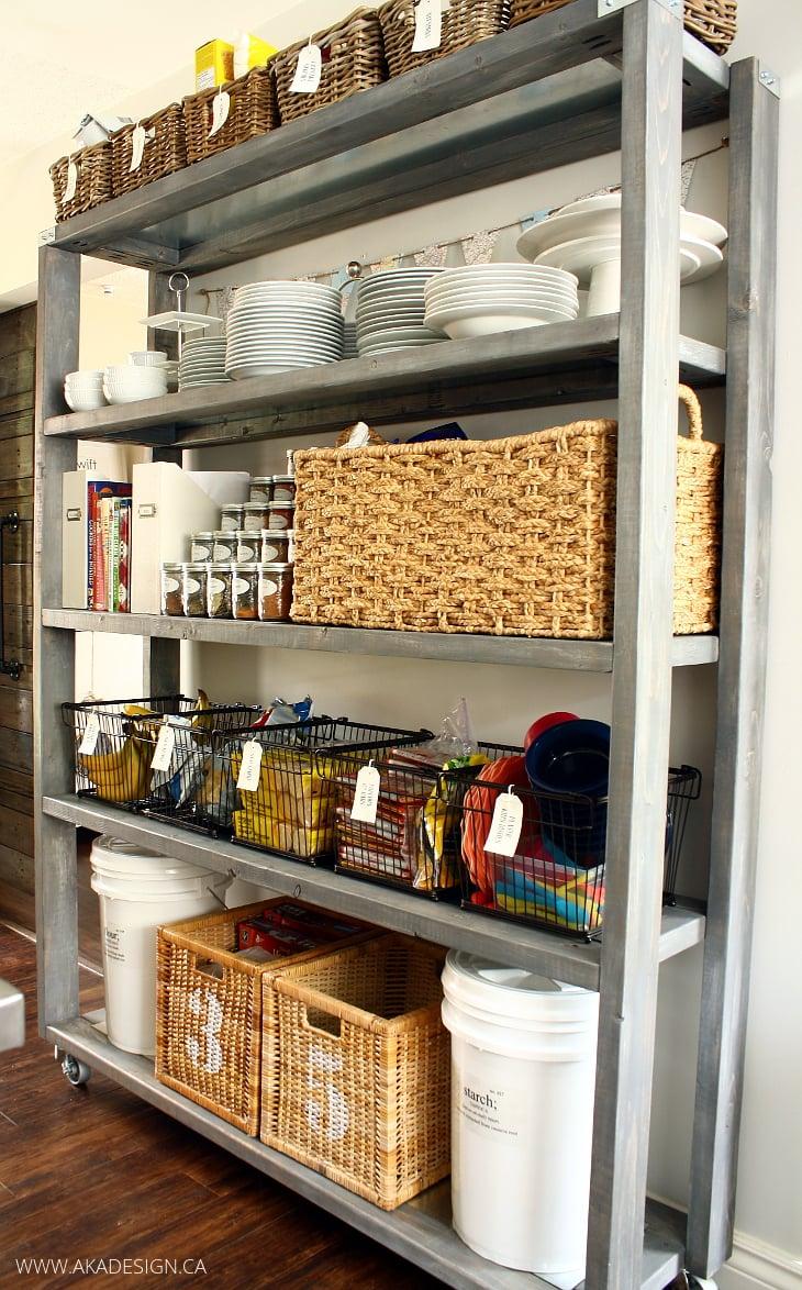 diy rolling kitchen pantry shelves | www.akadesign.ca
