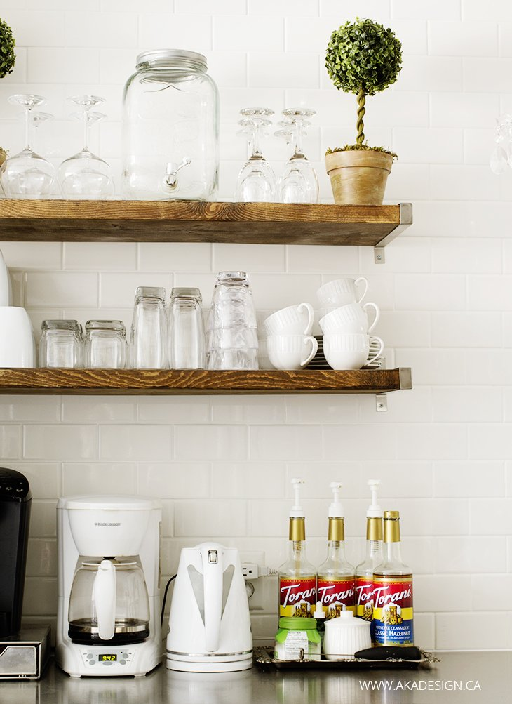 Coffee Bar, subway tile, open shelves, white mugs