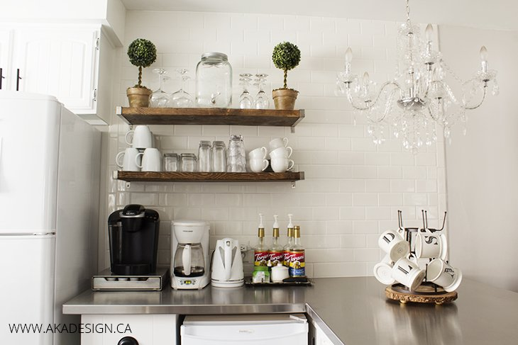 Coffee bar, chandelier, white mugs, monogram, bottle drying rack