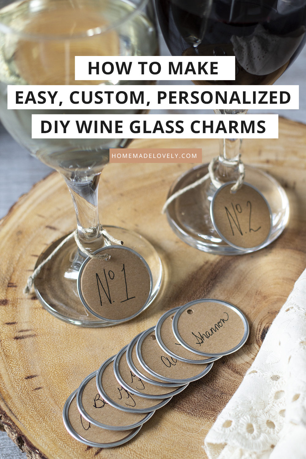 diy paper ring wine glass charms with text overlay