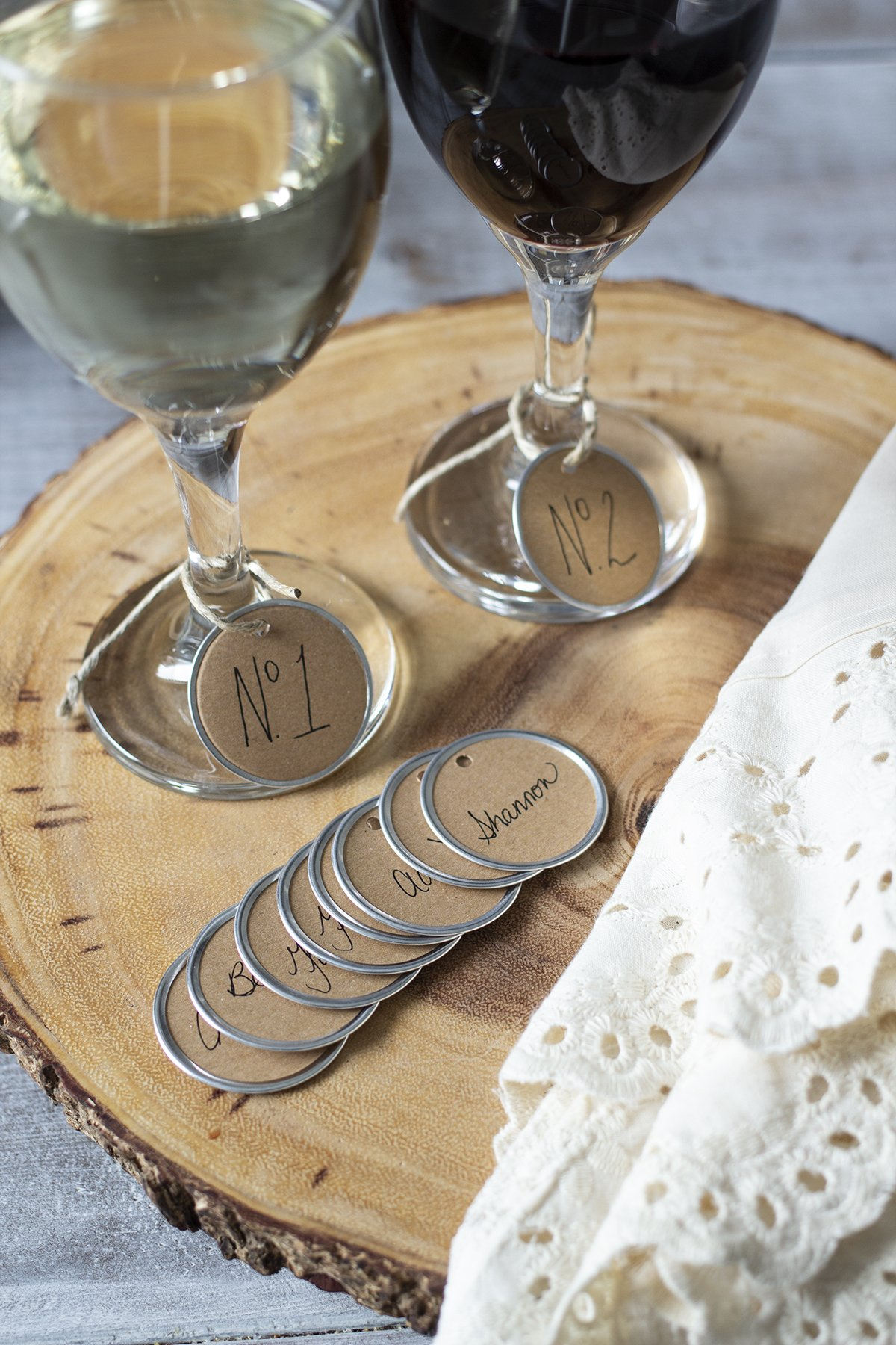 DIY wine glass charms on stemmed wine glasses
