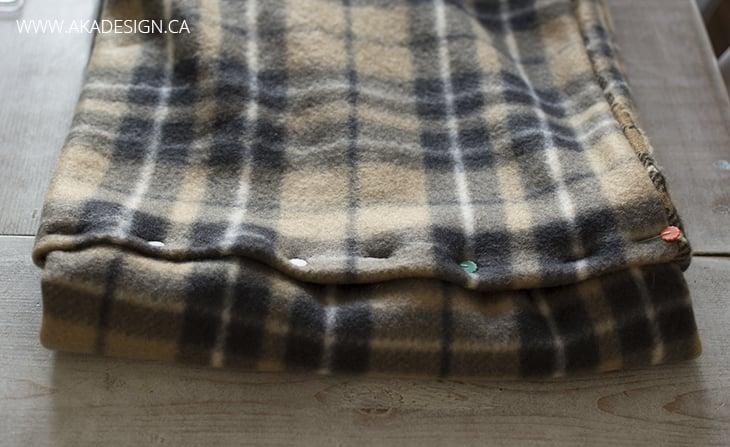 Pinned fleece scarf