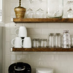 Rustic floating shelves subway tile wall