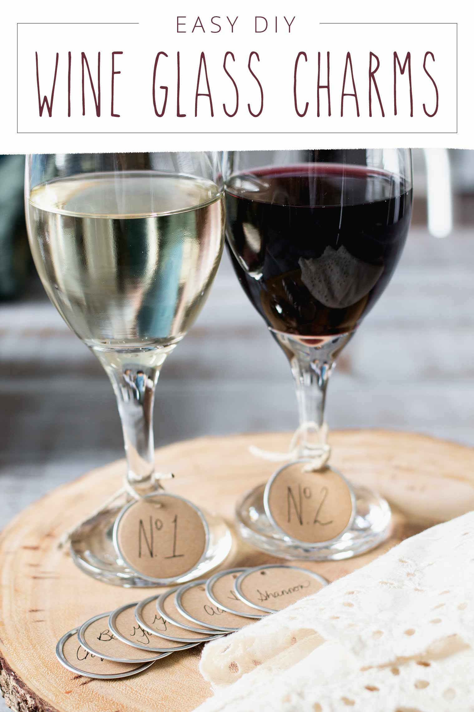 white wine and red wine in glasses with diy wine glass charms