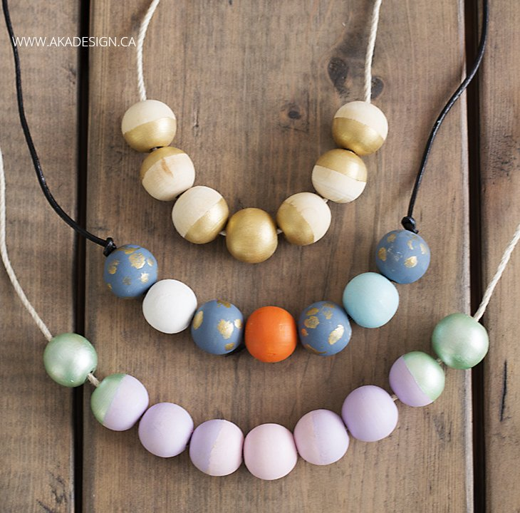 Colored Wooden Bead Necklace Painted Wooden Bead Necklace