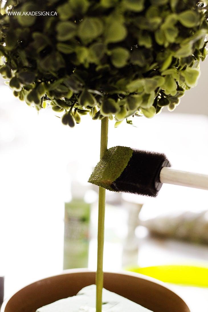 paint skewer on diy topiary