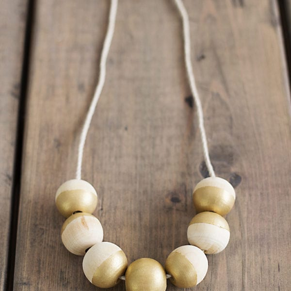 painted wood bead necklace