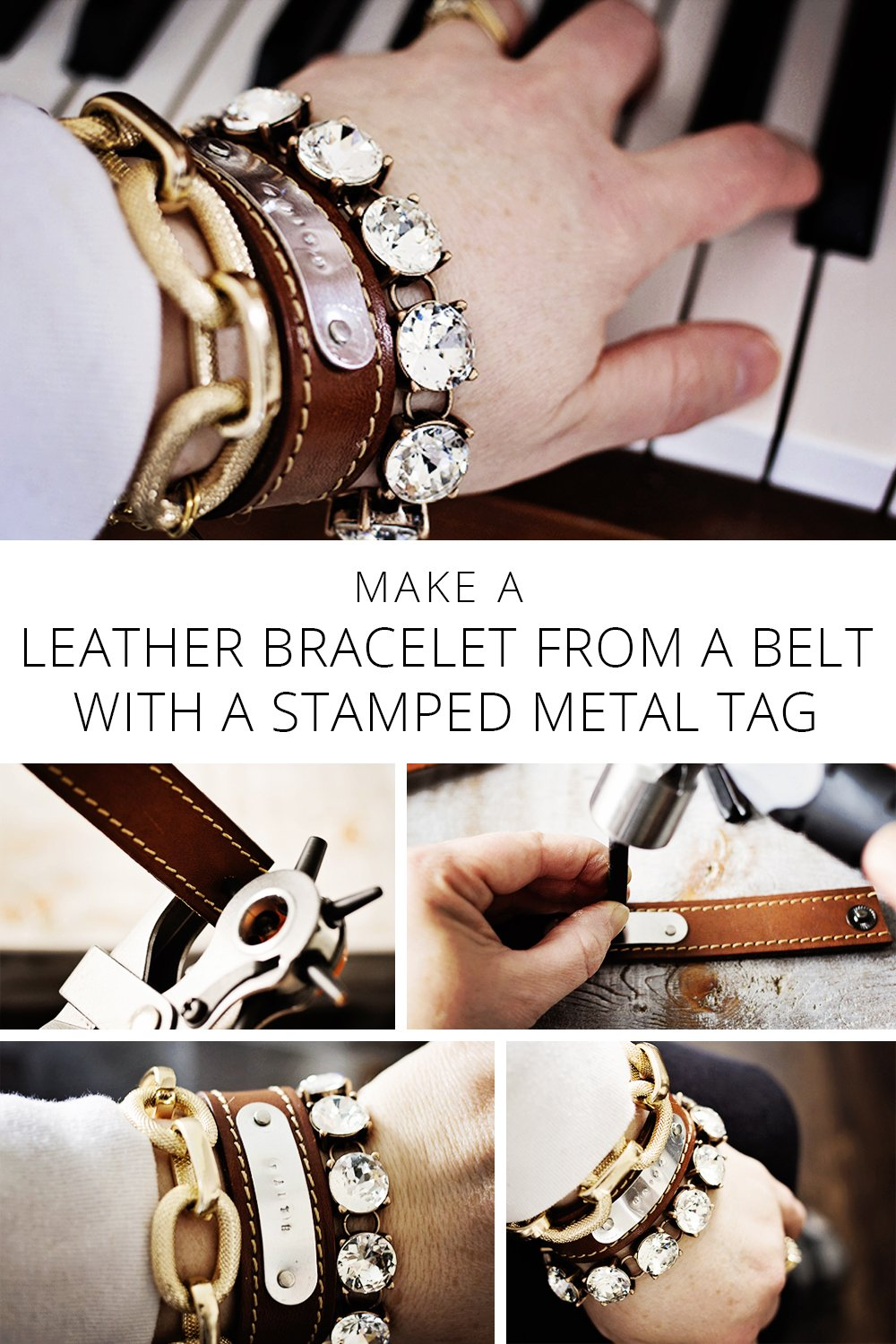 Make a LEATHER BRACELET FROM A BELT with a STAMPED METAL TAG