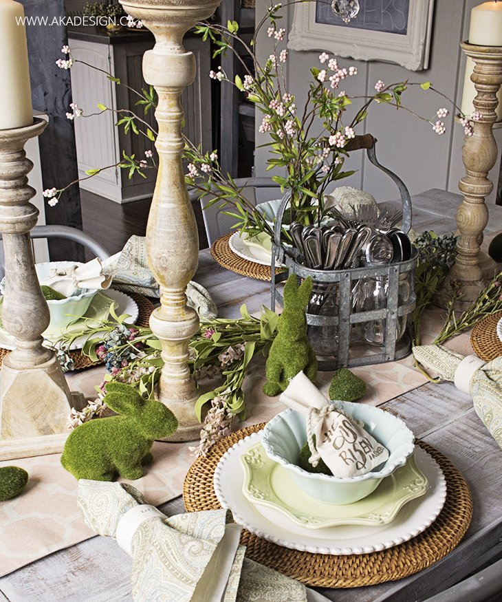 Natural easter table setting
