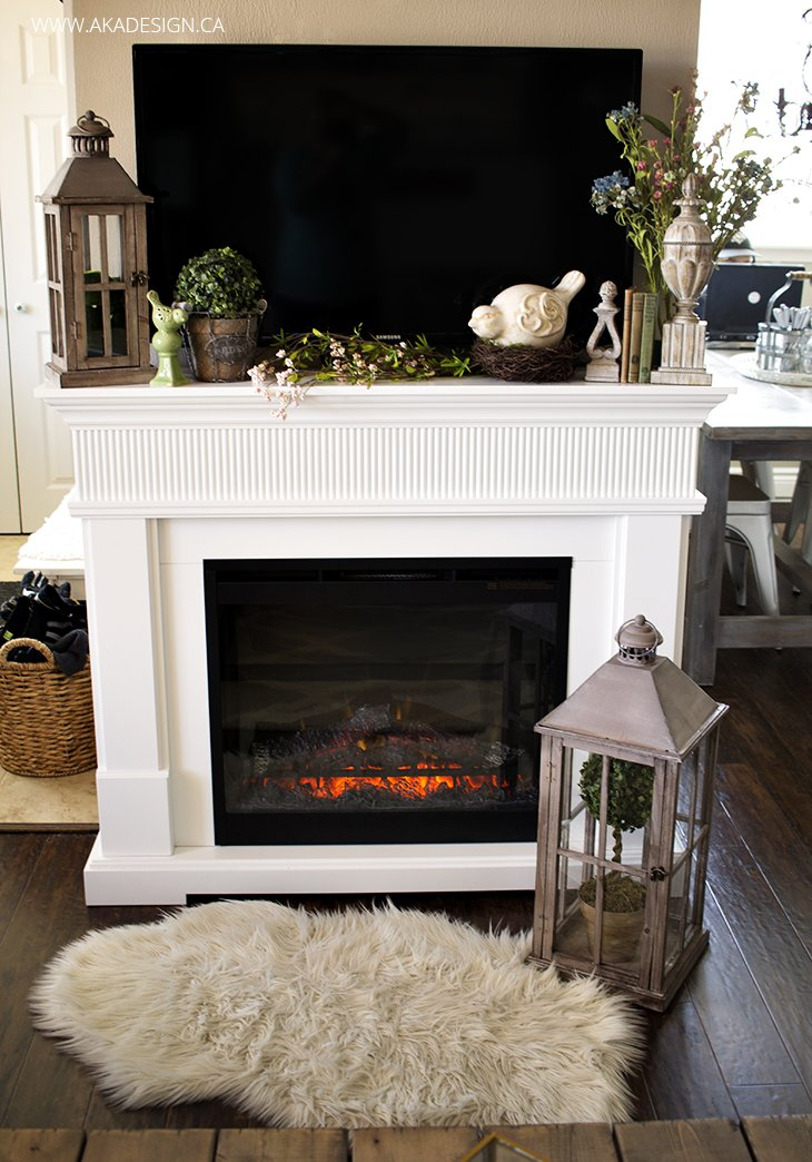 Spring home tour - Decorate living room with fireplace ...
