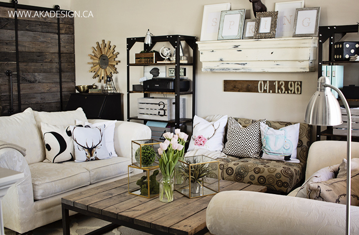Spring living room with black and neutrals