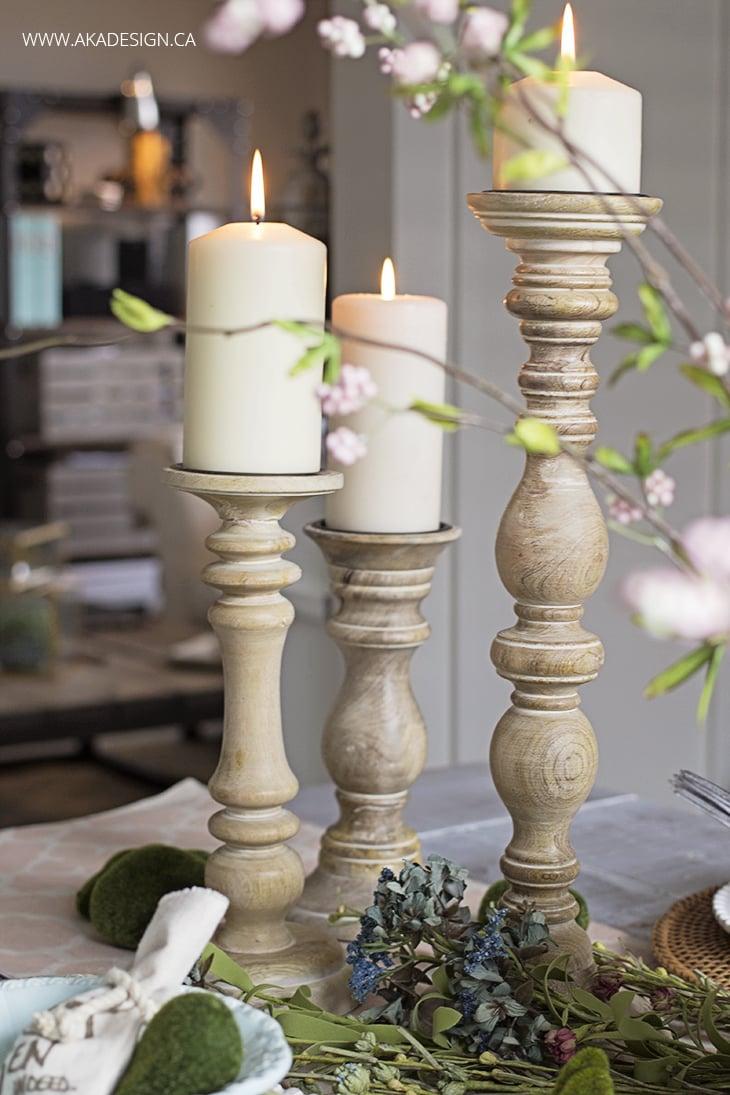 Turned Wood Candlesticks