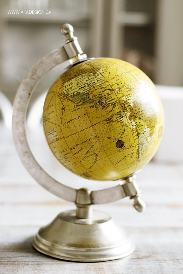 diy hand lettered globe before