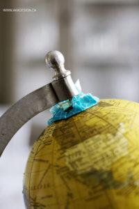 diy painted globe taped