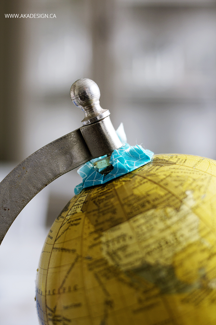 diy painted globe taped