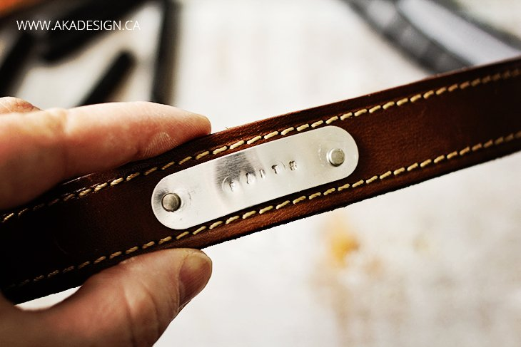 faith stamped in metal on DIY leather bracelet