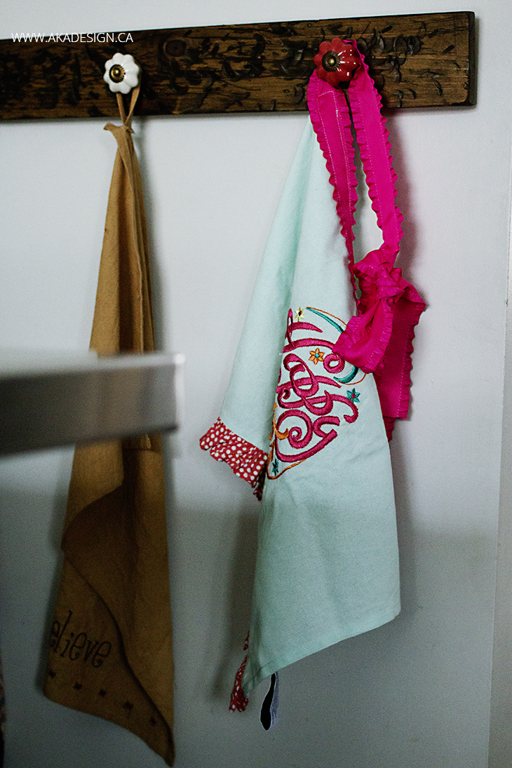 fancy apron from a tea towel hanging