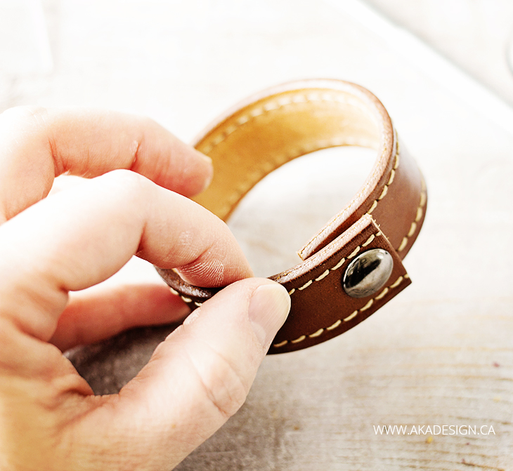 finished leather bracelet from a belt