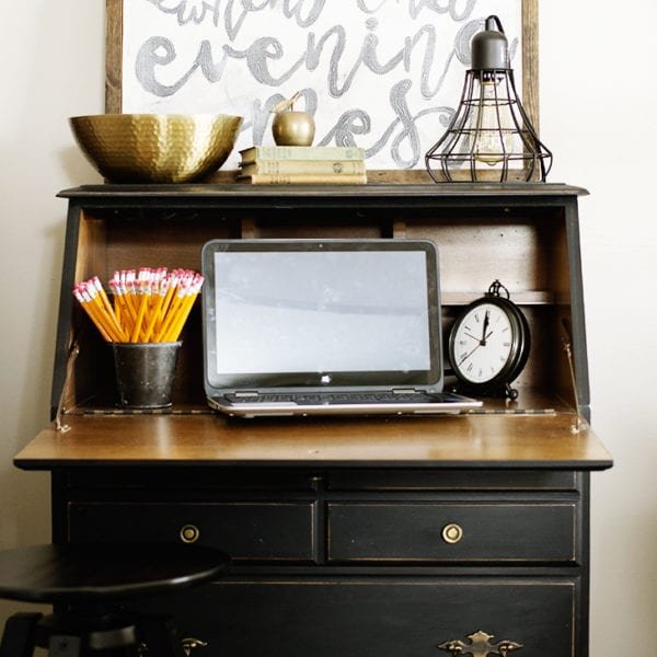 home office in the living room