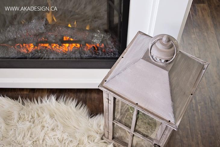 lantern top fireplace sheepskin rug