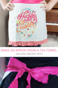 make an apron from a tea towel