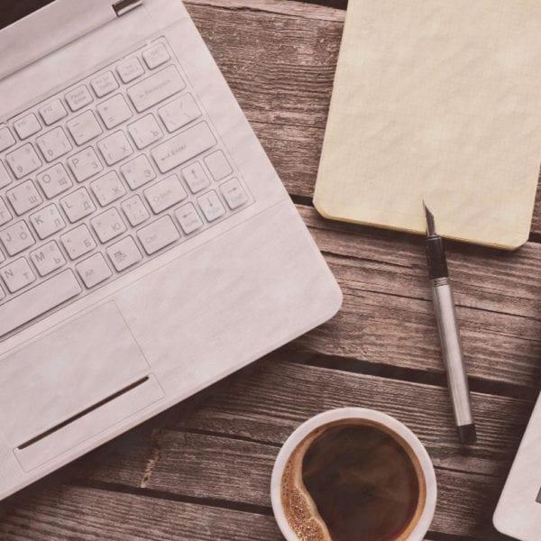 laptop, pad, coffee pen