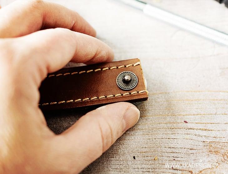 male snap piece on leather bracelet