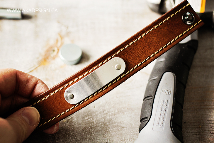 metal blank riveted to leather bracelet DIY