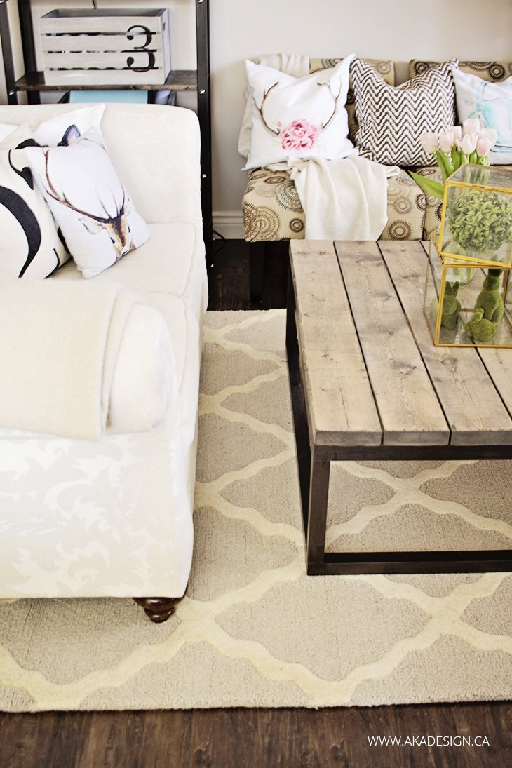 Amazing rustic industrial coffee table trellis rug white couch