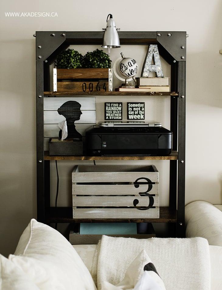 rustic industrial shelf styling - no logos
