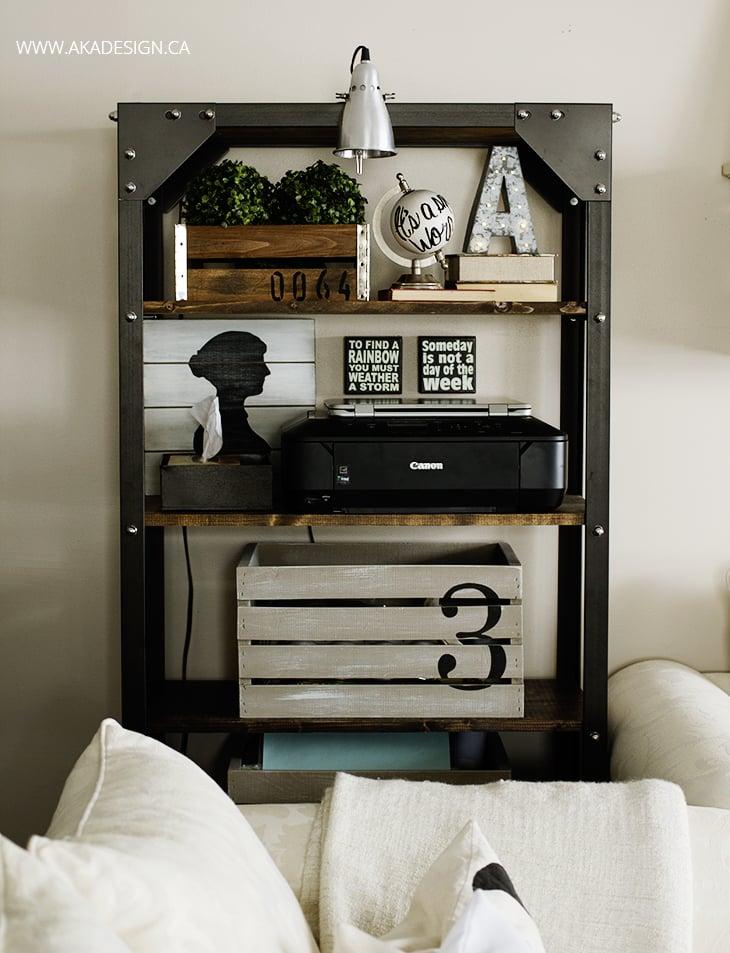 rustic industrial shelf styling