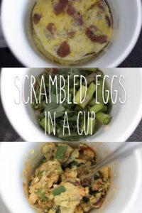 scrambled eggs in a cup